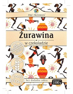 PIĘĆ PRZEMIAN Żurawina w czekoladzie bez cukru bezglutenowa 100g