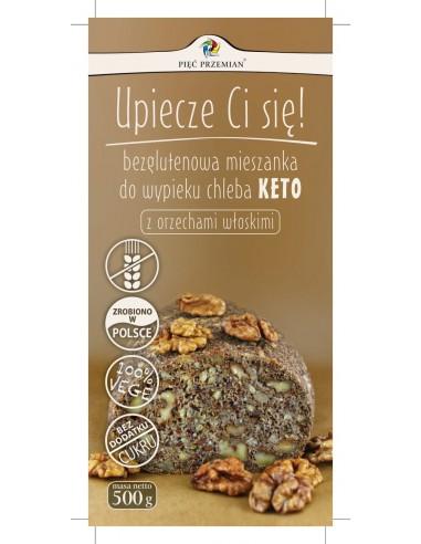 PIĘĆ PRZEMIAN Mieszanka do wypieku chleba KETO z orzechami włoskimi bezglutenowa 500g