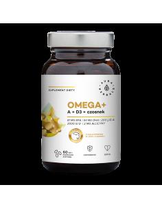 AURA HERBALS Omega+ Witamina A + D3 + czosnek 60 kapsułek softgel
